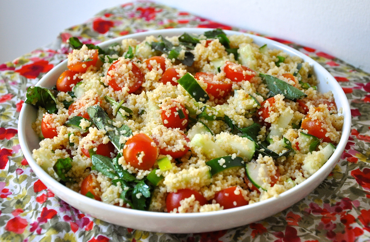 Cous Cous Salad with Cherry Tomatoes, Cucumber, & Lots of Herbs